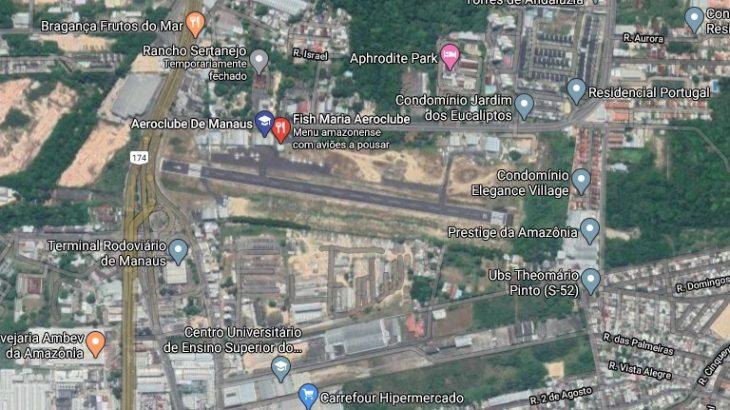 Imagem de satélite mostra localização do Aeroclube de Manaus dividindo espaço com residências. Foto: Reprodução