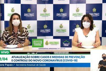 Secretária de Saúde, Viviane Papaiz, e a diretora-presidente da FVS-AM, Rosemary Costa Pinto (Reprodução)