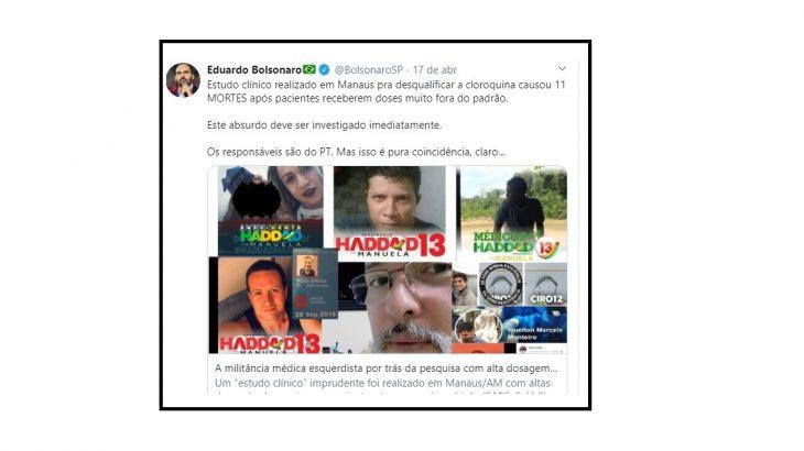 Tuíte foi compartilhado por Eduardo Bolsonaro na última sexta-feira, 17. - Foto: Reprodução