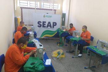 Os internos já produziram 200 peças e têm material para confecção de 3 mil máscaras- foto: divulgação / Seap