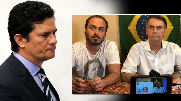 De herói aliado à inimigo velado, Sergio Moro provou o veneno verborrágico do agora inimigo declarado, Carlos Bolsonaro, filho do presidente (Reprodução/Brasil 247)