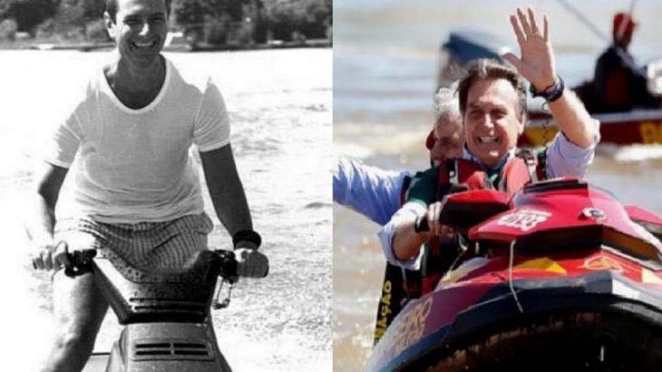 À esquerda, ex-presidente Collor em passeio de jet ski durante seu governo. À direita, atual presidente da República, Jair Bolsonaro, em passeio de jet ski (Divulgação)