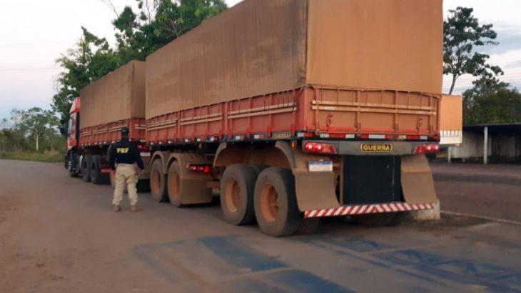 O condutor da carreta foi encaminhado à Delegacia de Polícia Civil por adulteração de sinal identificador. - Divulgação PRF
