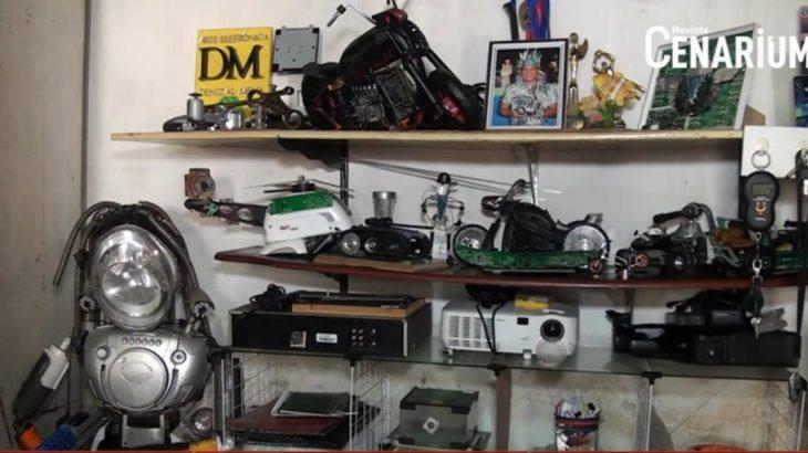Professor transforma lixo eletrônico encontrado na Amazônia em 'obra de arte'; assista