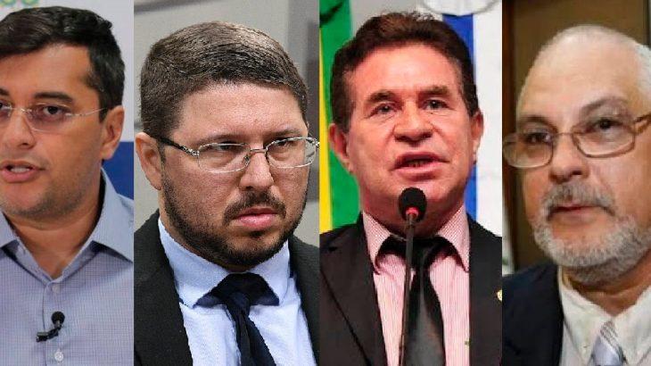 Governador Wilson Lima e o vice, Carlos Almeida, não deram detalhes sobre o pedido do relator, deputado Dr. Gomes, acerca do processo impetrado pelo então presidente do Simeam, Mário Vianna. (Reprodução)