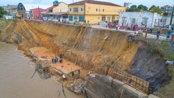 Orla da cidade desmoronou em janeiro deste ano (Yuri Pinheiro/ Prefeitura de Parintins)