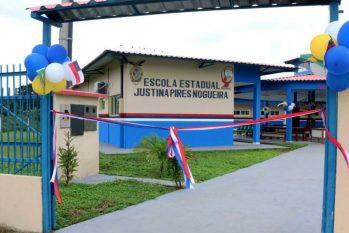 Escola estadual Justina Pires Nogueira foi afetada por um temporal depois de seis meses de inauguração (Divulgação/Secom)
