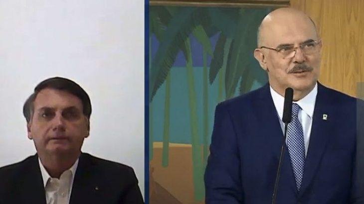 Mesmo em recuperação da Covid-19, o presidente Jair Bolsonaro participou da cerimônia de posse (Reprodução/TV Brasil)