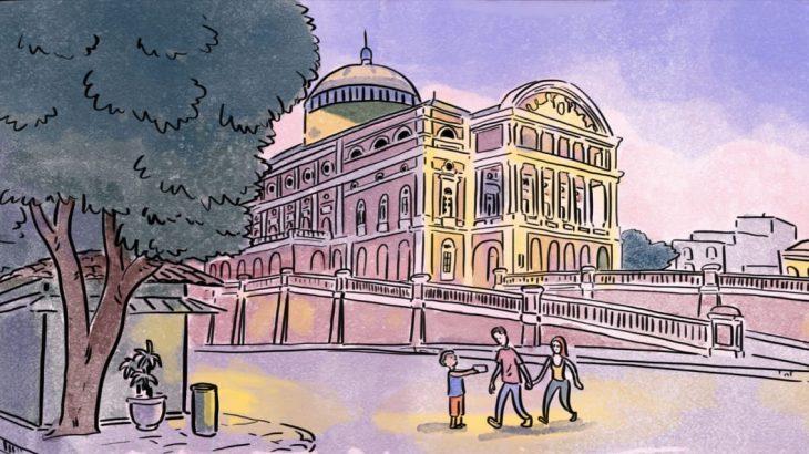 A tirinha 'O Teatro' faz uma crítica sobre o elitismo social existente na sociedade amazonense (Divulgação/ Instagram)