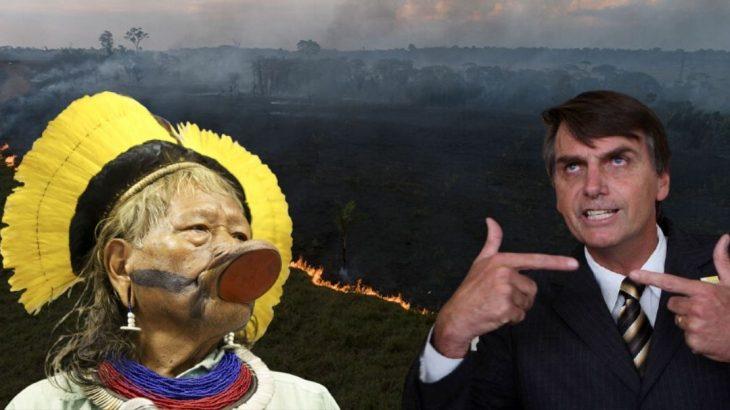 Em mais um ataque descabido, Bolsonaro atribui aos povos da Amazônia, a culpa pelas queimadas na região (Reprodução/Internet)