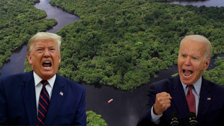 Democrata Joe Biden [direita] disse que, se eleito, organizaria doação de 20 bilhões de dólares ao Brasil para proteger as árvores. Trump [esquerda] não se posicionou (Arte/ REVISTA CENARIUM)