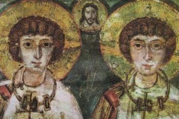 Imagem dos santos Sérgio e Baco, datada do século 7 — Foto: Reprodução/BBC