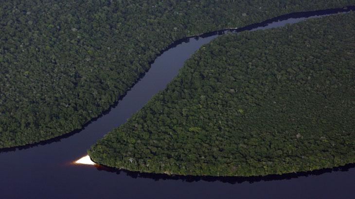 Uma ponte de praia no Rio Negro