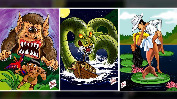 Palco de lendas e mitos, a Amazônia segue alimentando o imaginário de muita gente com mistérios e histórias de um mundo verde ainda a se descobrir (Revista Cenarium/Jack Cartoon)