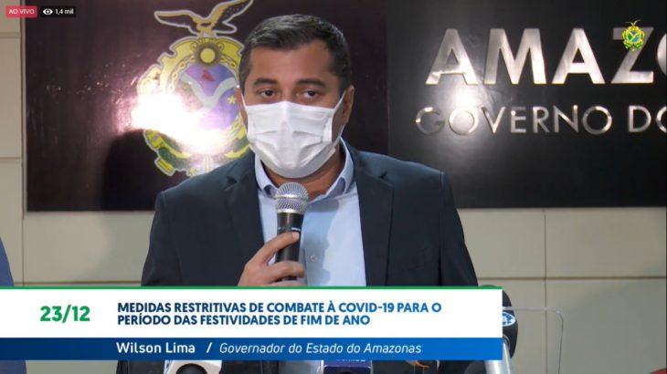 Governador do Amazonas, Wilson Lima, informou que serviços não essenciais irão funcionar somente por meio de drive-thru (Divulgação)