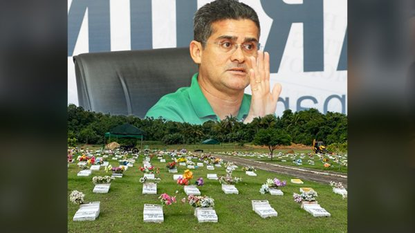 David anuncia o cemitério vertical como uma novidade mórbida para a região norte. (Revista Cenarium / Guilherme Oliveira)
