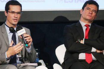 O então juiz Sergio Moro e o procurador Deltan Dallagnol durante evento em São Paulo em 2017 (Reprodução/Internet)