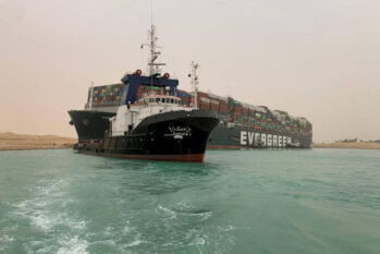 Egyptian official warned Wednesday it could take at least two days to clear the ship (Handout/ Reuters)