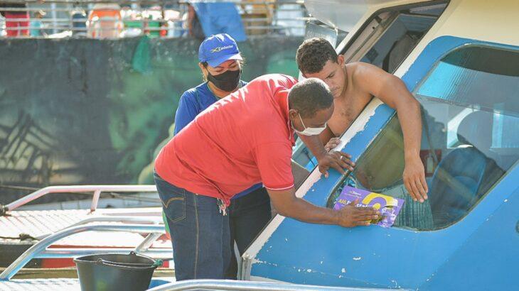 A ação integrada do Governo do Amazonas contou com o apoio da Polícia Turística da Polícia Militar (Politur). (Divulgação/Secom)