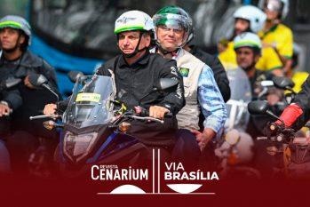 Presidente Jair Bolsonaro estava acompanhado de ministros no passeio (André Borges/AFP)