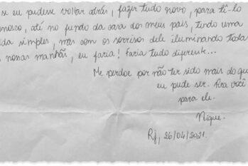 A carta foi escrita no último dia 26, quando a professora estava em uma cela isolada do Hospital Penitenciário Hamilton Agostinho (Arquivo pessoal/O Globo)