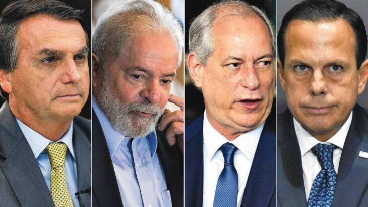 Jair Bolsonaro, Lula, Ciro Gomes e João Doria (Reprodução/O Globo)