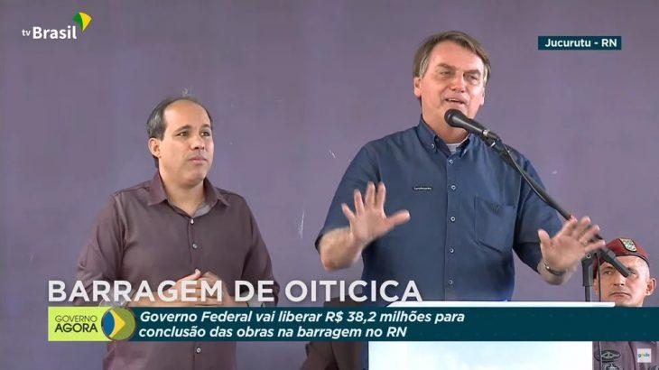Presidente foi a Jucurutu, no Rio Grande do Norte, e defendeu voto impresso (Reprodução TV Brasil)