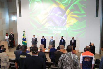 Governador do AM durante lançamento do primeiro Plano Estratégico Operacional de Atuação Integrada no Combate a Incêndios Florestais (Diego Peres/Secom)