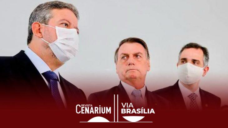 À esquerda Lira, Bolsonaro no centro e Pacheco à direita (Reprodução/Internet
