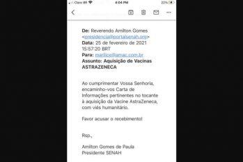 E-mail do reverendo Amilton (Reprodução/Internet)