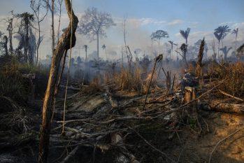 Queimada em área recentemente desmatada dentro da Terra Indígena Trincheira Bacajá, no Pará (Lalo de Almeida - 20.jul.2021/Folhapress)