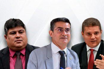 À esquerda, o presidente da CMM, David Reis, no centro o prefeito de Manaus, David Almeida e à direita o vice, Marcos Rotta (Arte: Samuel KNF/Cenarium)