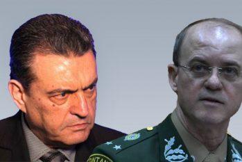 Louismar Bonates, à esquerda, e seu sucessor da SSP, general Carlos Alberto Mansur (Arte: Catarine Hak/Cenarium)