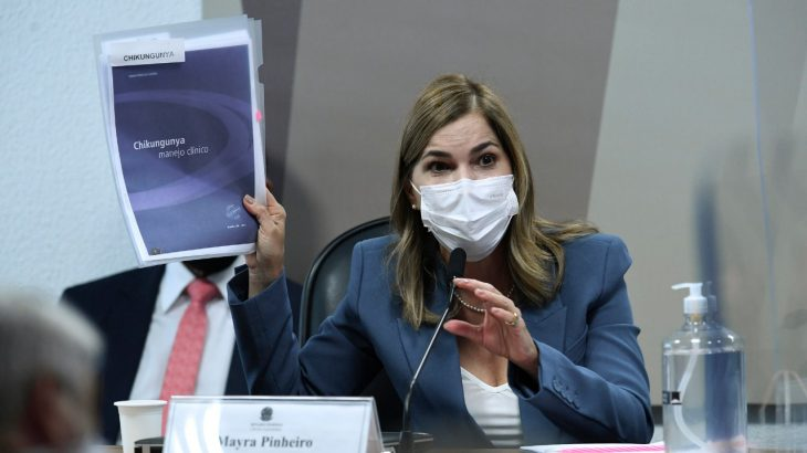 The secretary of Work and Education Management of the Ministry of Health, Mayra Pinheiro, who is a doctor, made the 'Covid Kit' widely known (Edilson Rodrigues/Senate Agency)