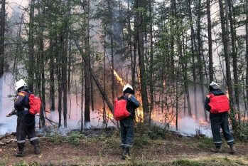 Bombeiros russos apagam fogo em floresta na Sibéria, que tem sofrido com incêndios nos últimos dias (HANDOUT / AFP)