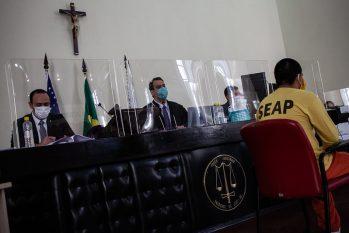 Segundo dia do julgamento dos 11 réus acusados de matar policial. (Raphael Alves/TJAM)