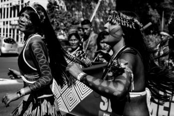 Indigenous women protesting for land demarcations, one of the causes of suicide in the country. (Andressa Zumpano/ CPT-MA)