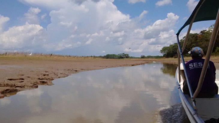 Registro da seca no município de Amaturá, em 2018 (Defesa Civil do Amazonas/Divulgação)