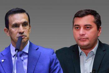 O deputado federal Sidney Leite (PSD) e o governador Wilson Lima (PSL) (Catarine Hak/Revista Cenarium)