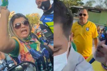 A equipe de reportagem da TV Band Amazonas foi hostilizada e agredida na Praia da Ponta Negra, em Manaus (Reprodução/ Instagram)