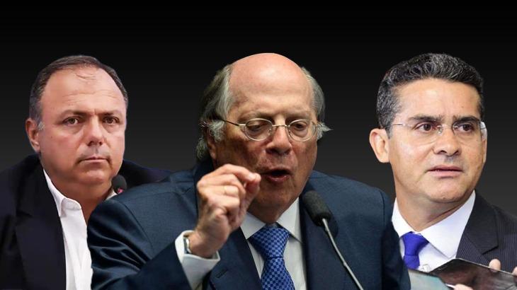 O ex-ministro da Saúde Eduardo Pazuello, o ex-ministro da Justiça Miguel Reale Júnior e o prefeito de Manaus, David Almeida (Arte: Guilherme Oliveira/CENARIUM)
