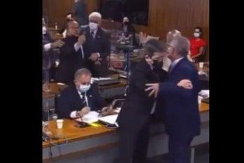 Os dois senadores começaram a se agredir verbalmente e precisaram ser impedidos por outros membros da CPI ( Reprodução/TV Senado)