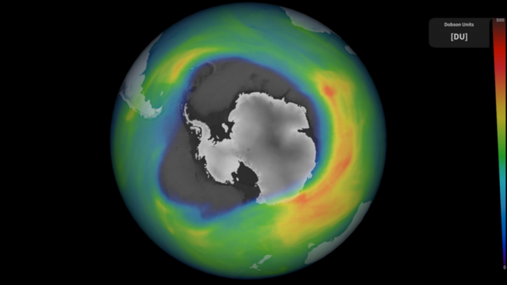 Buraco localizado sobre o Polo Sul está maior que o tamanho do continente Antártica. (ESA/COPERNICUS SENTINEL)