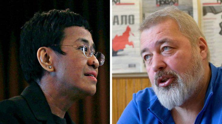 Maria Ressa e Dmitri Muratov, jornalistas vencedores do Nobel da Paz de 2021 (Eloisa Lopez/Reuters e Natalia Kolesnikova/AFP)