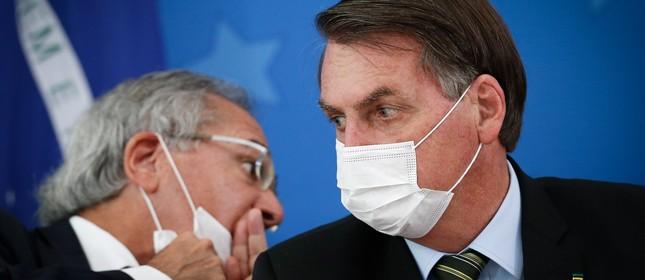Paulo Guedes e Jair Bolsonaro em entrevista sobre o coronavírus   Pablo Jacob/18.03.2020