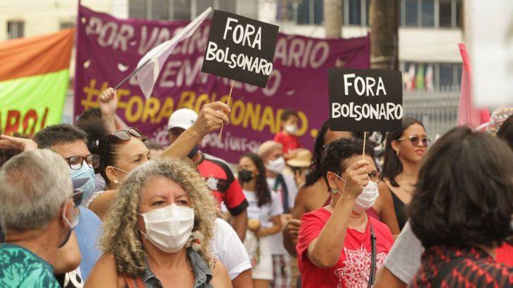 Atos contra o governo federal e Jair Bolsonaro são realizados neste sábado. Na capital paraense a concentração iniciou às 8h, no Mercado de São Brás. (Foto: Raimundo Paccó/ FramePhoto / Agência O Globo)