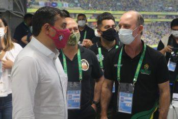 Governador do Amazonas, Wilson Lima, e autoridades da SSP-AM. (Divulgação/ SSP-AM)