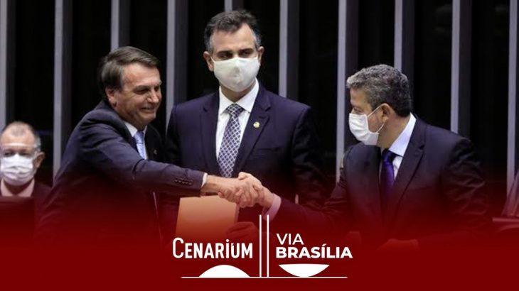 Bolsonaro, Rodrigo Pacheco e Arthur Lira. (Divulgação)