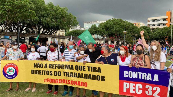 Os atos reuniram movimentos sociais, sindicais, servidores públicos, estudantes e políticos (Bruno Pacheco/Cenarium)