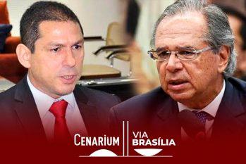 O deputado federal Marcelo Ramos (à esquerda) e o ministro da economia Paulo Guedes (à direita) (Arte: Ygor Fábio/CENARIUM)